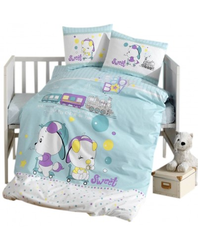 Lenjerie PUFINAS cu 6 piese 60/120 Bumbac 100% BABY SWEET - Blue