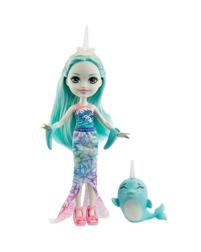 Papusa Enchantimals by Mattel Naddie Narwhal cu figurina Sword
