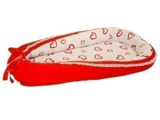 Baby Nest din Cocos MyKids Hearts-Red White